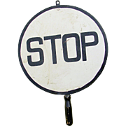 Vintage Railroad Crossing Flagman STOP Hand Held Traffic Warning Sign
