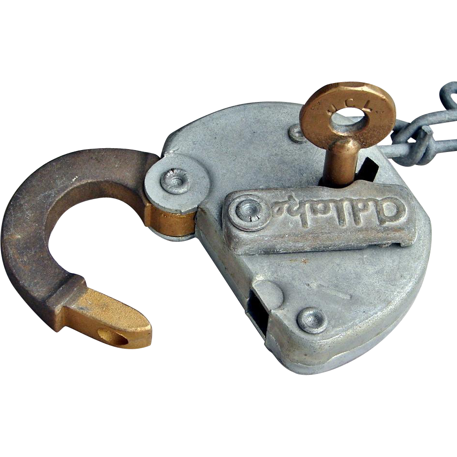 Vintage Jersey Central Lines Railroad Switch Key and Brass Shackle Lock Set JCL CNJ Railway Padlock