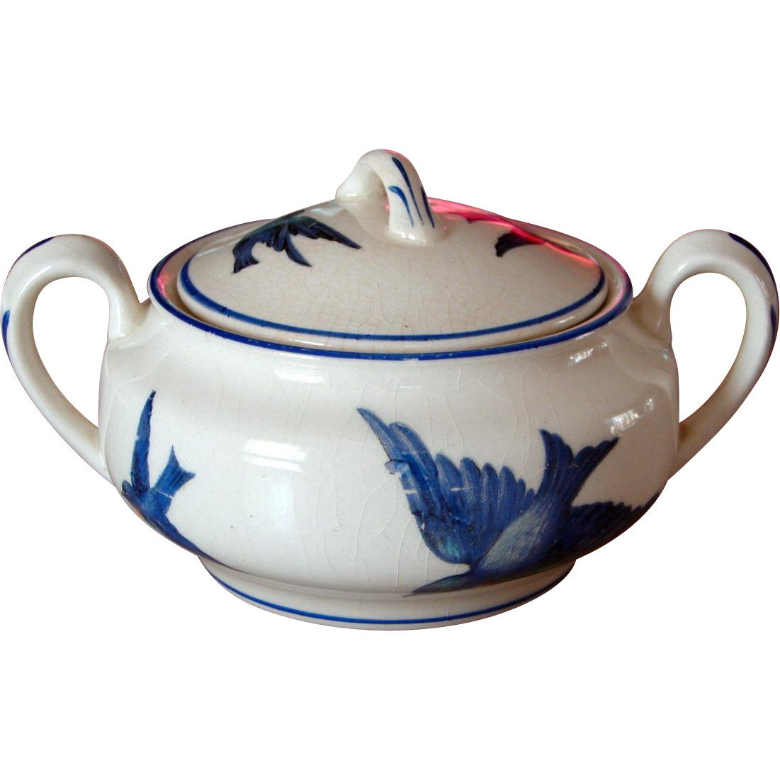 Circa 1907 Knowles Taylor & Knowles Bluebird China Covered Sugar Bowl