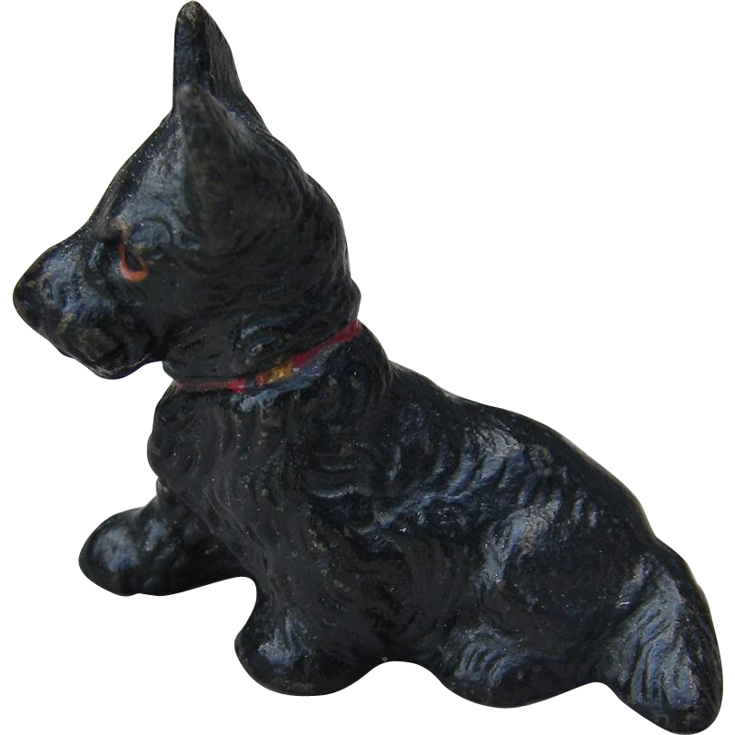 Vintage Hubley Miniature Scotty Dog Cast Iron Place Card Holder Scottie Scottish Terrier