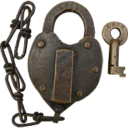 Vintage Georgia Railroad Brass Heart Shape Switch Lock & Key Set GARR Railway