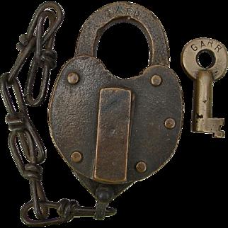 Vintage Georgia Railroad Brass Heart Shape Switch Lock & Key Set GARR Railway