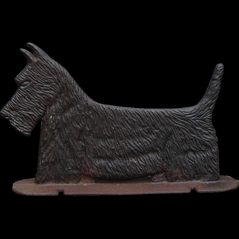 Vintage Cast Iron Scottie Scottish Terrier Dog Flexible Use: Bootscraper Doorstop Sign Topper