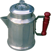 Vintage Miniature Coffee Percolator Pot 1930s-1940s Aluminum UNUSED