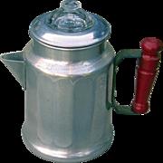 Vintage Miniature Coffee Percolator Pot 1930s-1940s Aluminum UNUSED