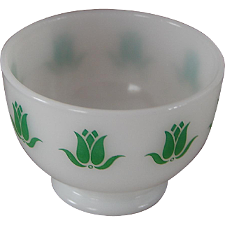 Vintage Rare Fire-King Cottage Cheese Glass Dish Bowl Green Tulips MINT Condition