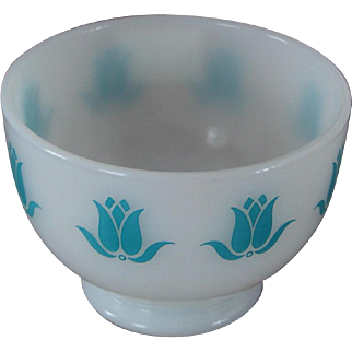 Vintage Teal Fire-King Glass Cottage Cheese Dish Blue-Green Tulips