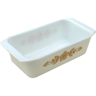 Vintage Pyrex Butterfly Gold Milkglass Loaf Pan Baking Dish