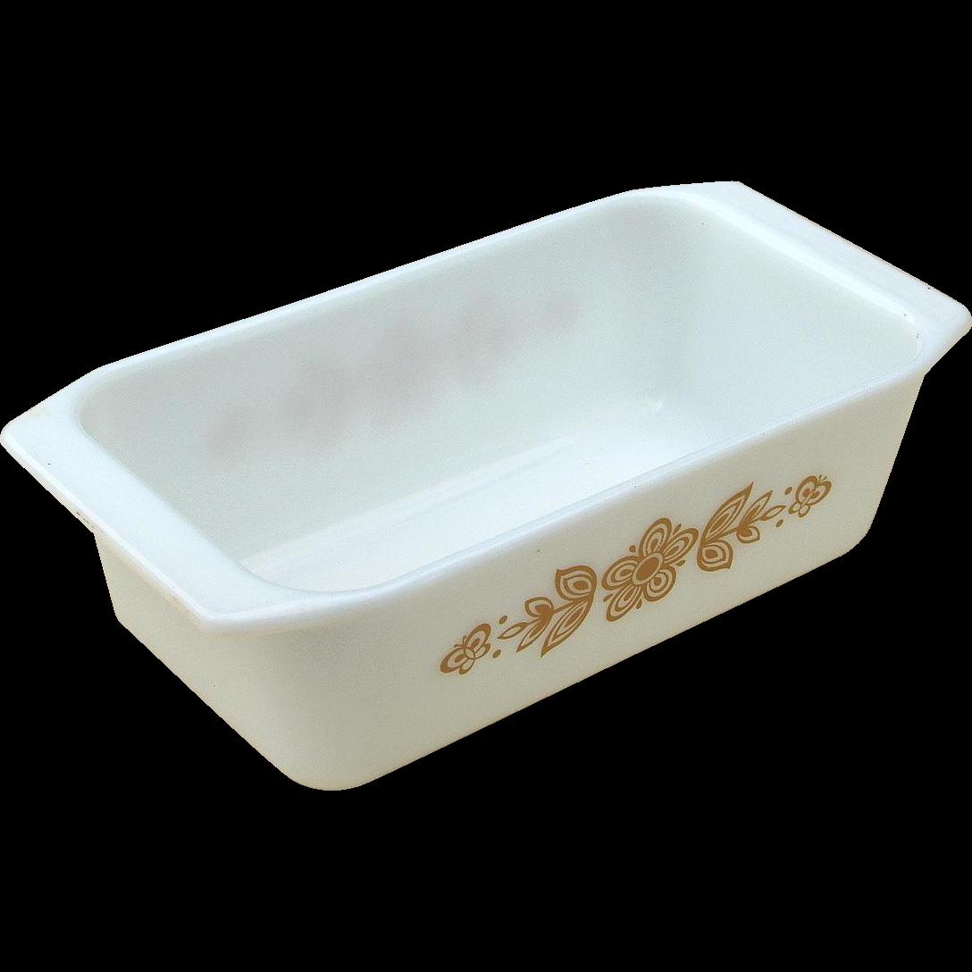 Vintage Pyrex Butterfly Gold Milkglass Loaf Pan Baking Dish