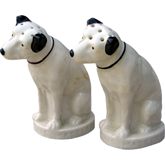 Vintage Nipper Dog Marked Lenox RCA Victor His Master's Voice China Salt & Pepper Shaker Set