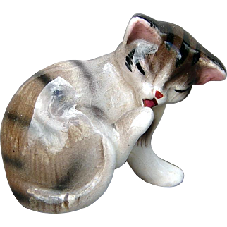 Vintage Miniature China Tabby Kitten Realistic Cat Licking Its Paw