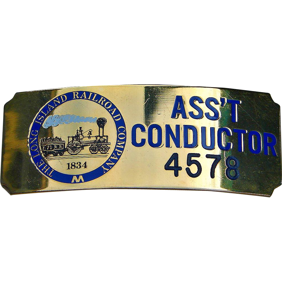 Vintage Long Island Railroad Assistant Conductor Brass Hat Cap Badge LIRR
