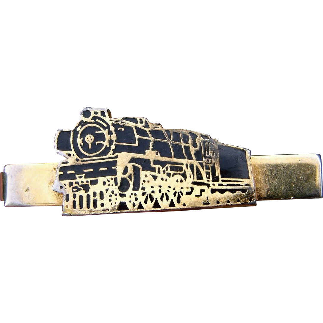 Vintage Sharp! Black Enamel on Gold Tone Railroad Locomotive Tie Clip