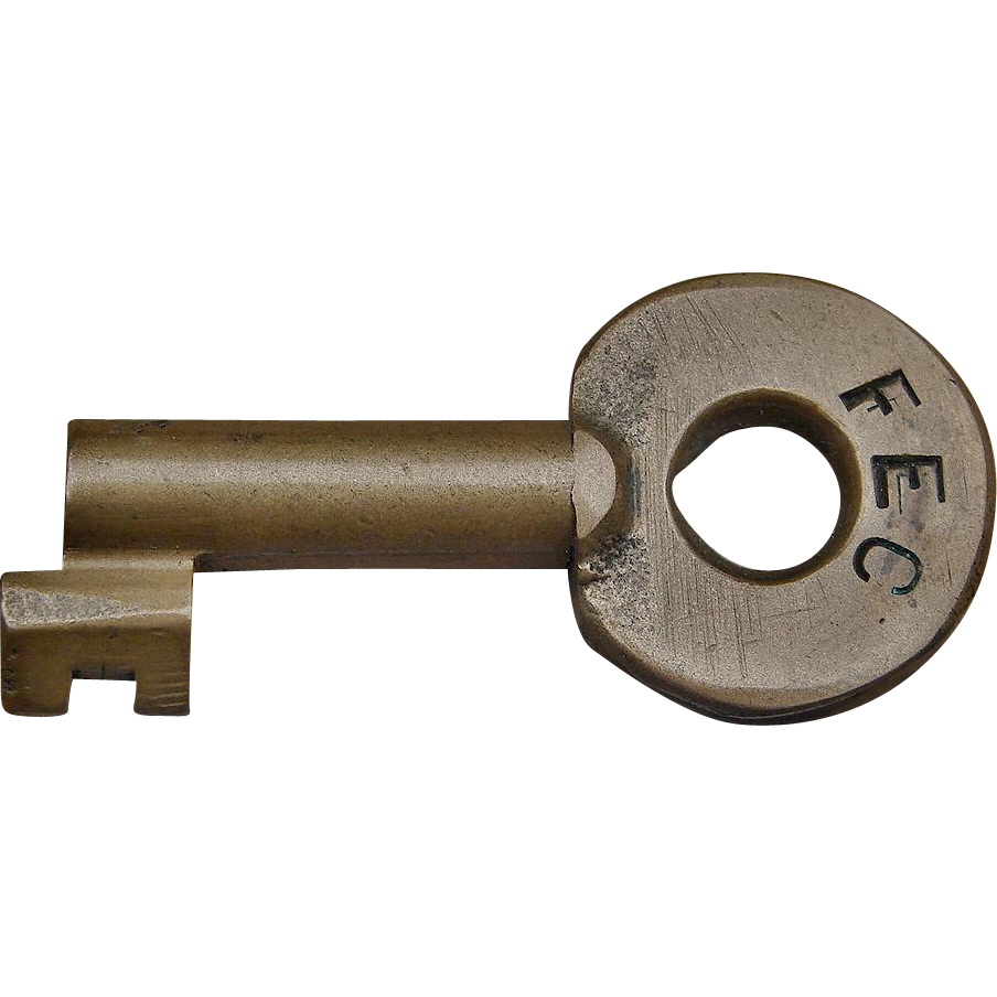 Vintage Florida East Coast Railroad Brass Railway Switch Key