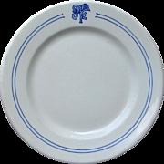 Antique Santa Fe Railway Bleeding Blue Dinner Plate AT&SF Railroad China