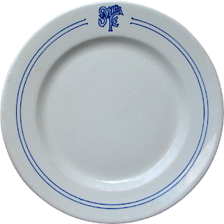Antique Santa Fe Railway Bleeding Blue Dinner Plate AT&SF Railroad China