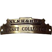 Vintage New York, New Haven & Hartford Railroad Ticket Collector Hat Cap Badge