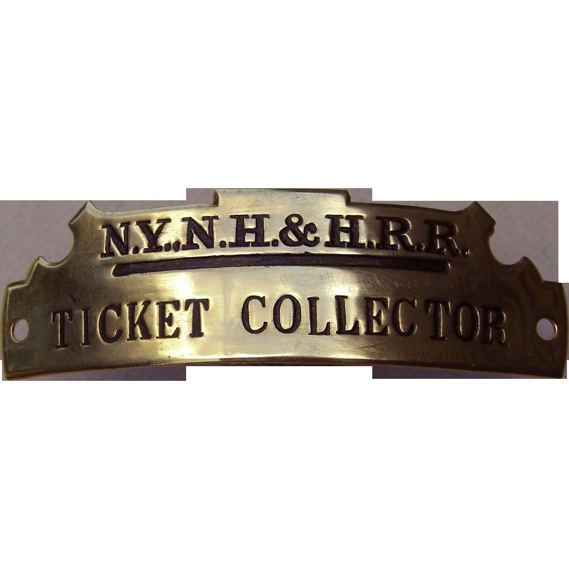 Vintage New York, New Haven & Hartford Railroad Ticket Collector Hat Cap Badge