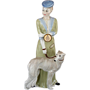 "Vintage Royal Doulton ""Park Parade"" Lady with Borzoi Dog Large Figurine 1986 Reflections"