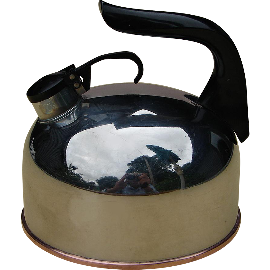 Mid-Century Vintage Miniature Revereware Tiny Little Teapot Whistling Tea Kettle