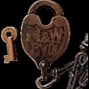 Vintage Norfolk & Western Railway Fancy Castback Brass Switch Lock & Key Set Railroad