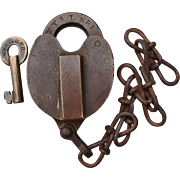 Antique New York & Long Branch Railroad Brass Heart Shape Switch Lock & Key Set