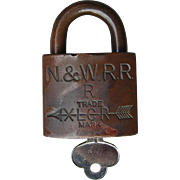 Vintage Norfolk & Western Railway Brass Corbin Lock and Key Set N&WRY Railroad