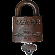 Vintage Norfolk & Western Railway Brass Corbin Lock and Key Set N&WRY Railroad