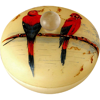 Early 1900s Frosted Glass Dresser Powder Box with Hand Painted Parrots Macaws