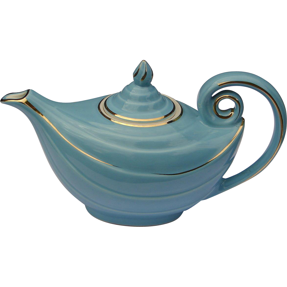 "Vintage MINT Hall China Aladdin "" Blue Turquoise "" With Gold Decoration Tea Pot Teapot"