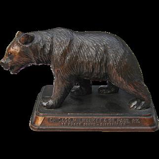 "Vintage Chicago Milwaukee & St. Paul Railroad Grizzly Bear Figurine ""Gateway to Yellowstone"" CM&StPRY"