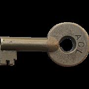 Vintage Atlantic Coastline Railroad Brass Switch Key
