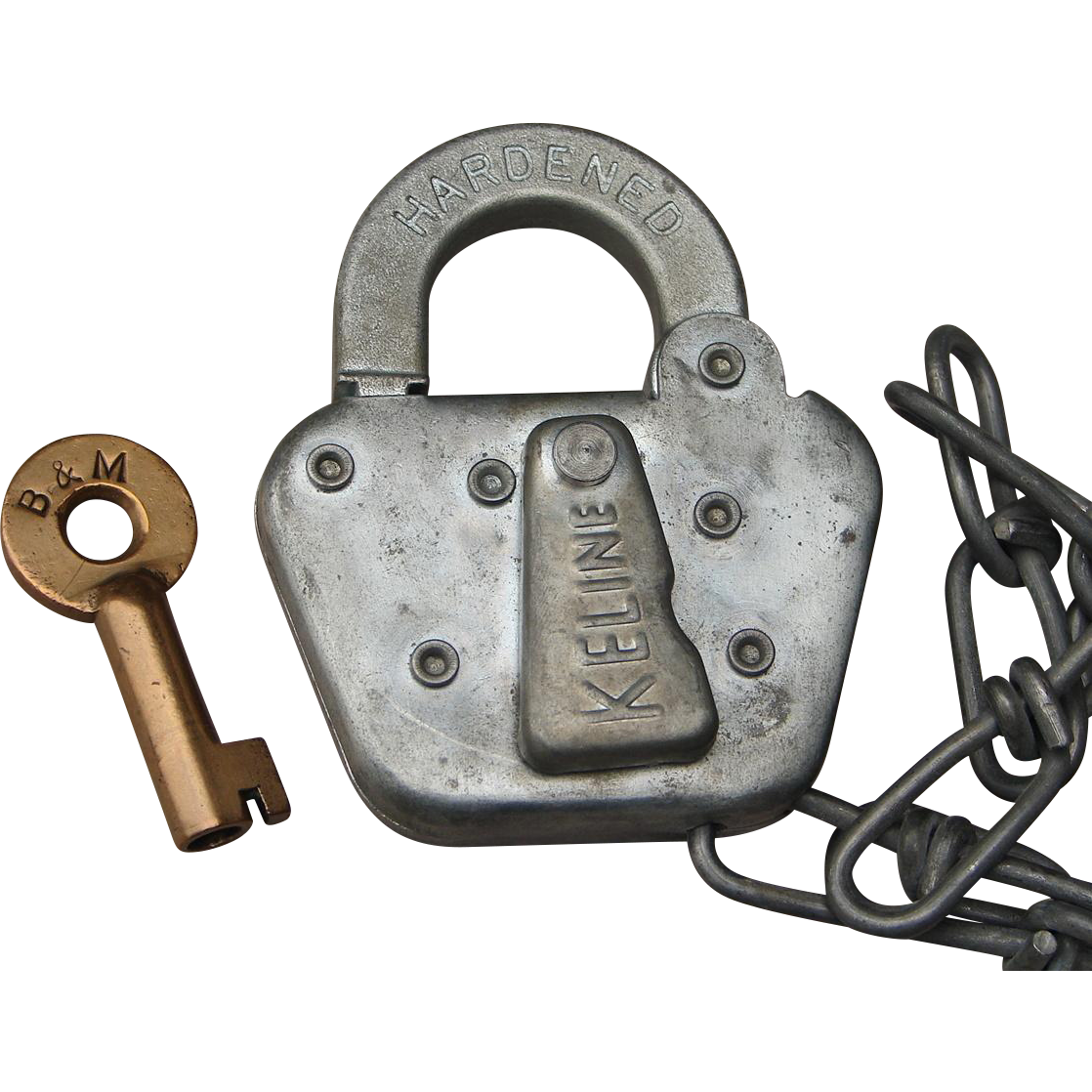 Vintage Boston & Maine Railroad Brass Key and Steel Switch Lock Working Set B&MRR Railway