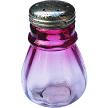 Antique Victorian Hobbs, Brockunier Cranberry Glass Ring Neck Small Muffineer Sugar Shaker