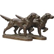 Vintage Hubley Setter Dog Bookends Bronze or Brass Early 1900s Pointer