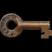 Antique Boston & Maine B&MRR Railroad Brass Bohannan Switch Key