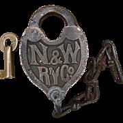 Vintage N&WRY Fancy Castback Railroad Brass Switch Lock and Key Set Norfolk & Western Railway