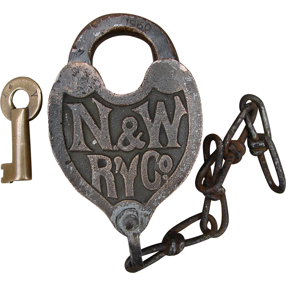 Vintage N&WRY Fancy Castback Railroad Brass Switch Lock and Key Set Norfolk & Western Railway