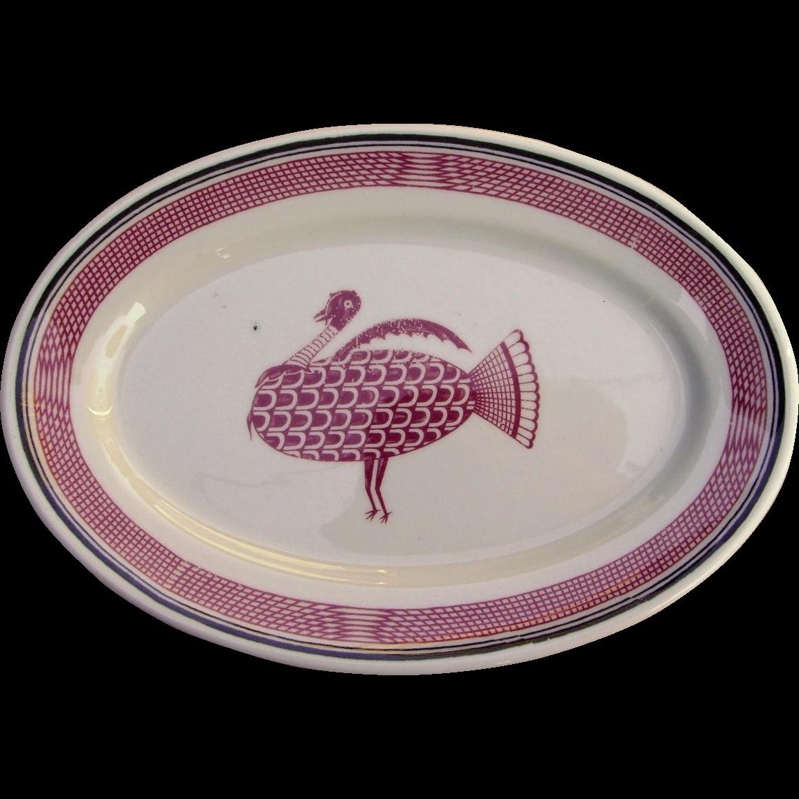 Vintage Authentic Santa Fe Railroad China Ancient Mimbreno Tiny Turkey Platter AT&SFRR