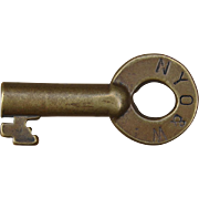 Vintage New York Ontario & Western Railroad Brass Switch Key NYOW Railway