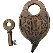 Antique Pennsylvania Railroad Brass Fancy Castback Switch Lock and Key PRRCO Set