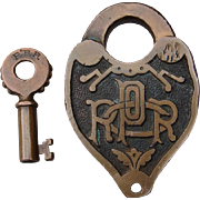 Antique PRRCO Fancy Cast Pennsylvania Railroad Brass Switch Lock & Key Set Stewart & Mattson