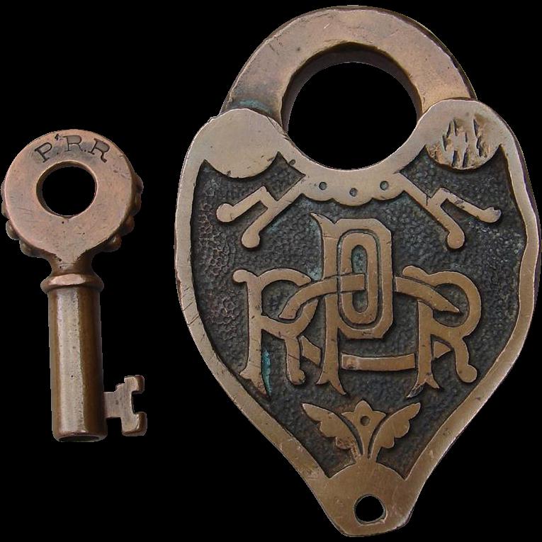 Antique PRRCO Fancy Cast Pennsylvania Railroad Brass Switch Lock & Key Set Stewart & Mattson