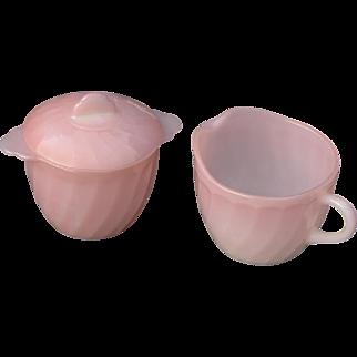 Vintage Fire King Pink Swirl Cream Pitcher & Lidded Sugar Bowl Set (Hard to find 3 pieces) Anchor Hocking