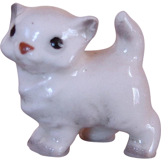 Vintage Retired White Persian Kitten Hagen Renaker Bone China