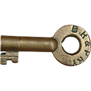 Antique Adams & Westlake BR&PRR Railroad Brass Switch Key Buffalo, Rochester & Pittsburgh Railway