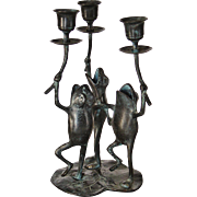 Vintage Brass or Bronze Singing Frogs Candlestick