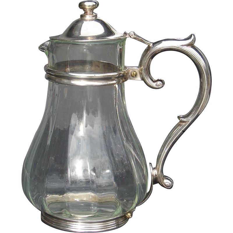 Vintage Rock Island Railroad Tall Water Carafe Pitcher Glass and Silverplate CRI&PRR