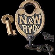 Authentic N&WRY Norfolk & Western Railroad Fancy Castback Switch Lock and Key Set