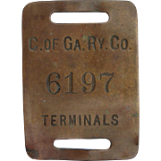 Antique Central of Georgia Railway C OF GA RY Large Brass Tag Railroad